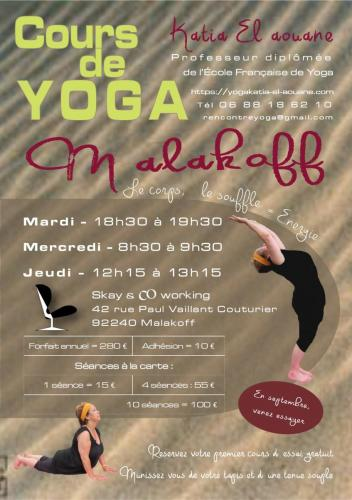 Tract Cours Yoga Katia El Aouane  Malakoff